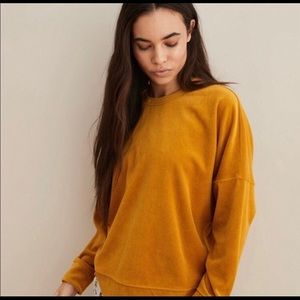 Aerie Mustard chunky velvet sweater